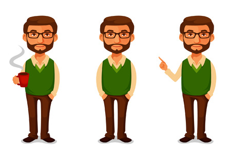 beard man: friendly cartoon guy in casual clothes Illustration