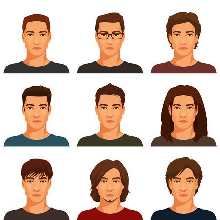 handsome men: giovani uomini belli con vari acconciatura Vettoriali