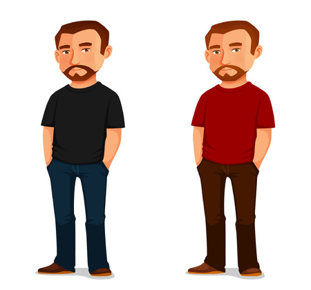 hombre barba: cool guy de dibujos animados con la barba en ropa casual