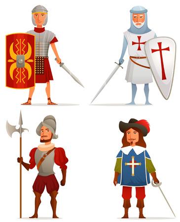 mosquetero: divertidas ilustraciones de dibujos animados de la edad antigua y medieval Vectores
