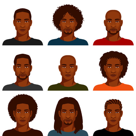 cartoon hairdresser: African American men with various hairstyles