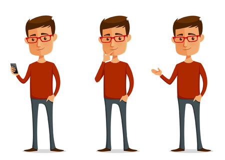 persona pensando: tipo gracioso de dibujos animados con gafas en varias poses Vectores