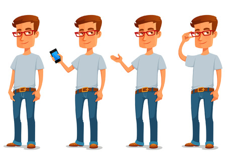 man with glasses: funny cartoon guy in casual clothes in various poses