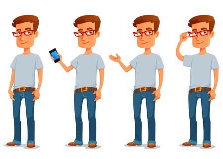 handsome men: ragazzo divertente cartone animato in abiti casual in varie pose