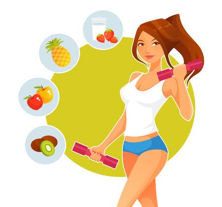 manzana caricatura: muchacha deportiva de dibujos animados con pesas y variedad de frutas saludables