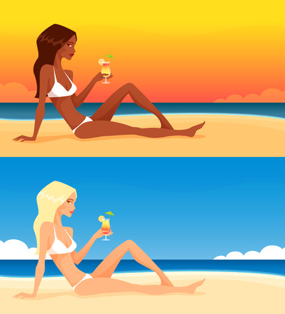 hot body girl: beautiful girl on the beach, enjoying her drink Illustration