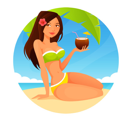 fruit drink: cute cartoon girl enjoying coconut drink on the beach