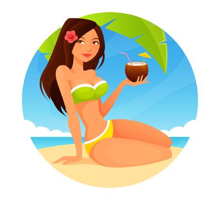 niñas en bikini: linda chica de dibujos animados disfruta de la bebida de coco en la playa Vectores