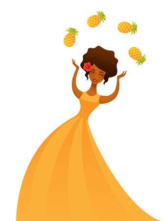 latin american girls: beautiful exotic girl in yellow summer dress juggling with pineapples