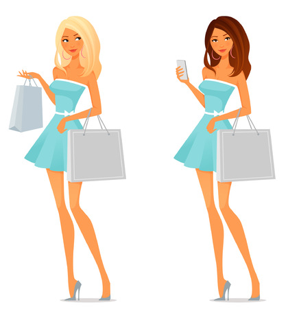 mobile shopping: cute cartoon girl in summer dress, shopping