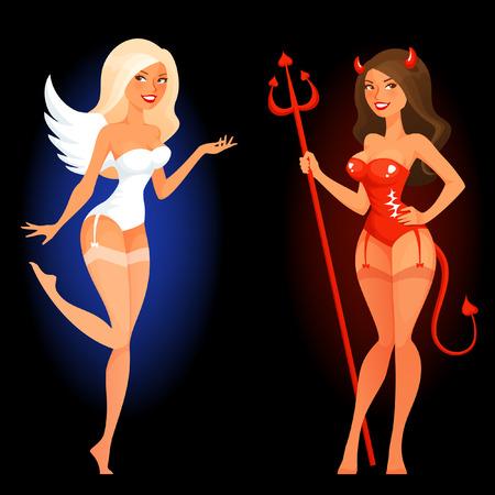 Pin atractivo encima de la muchacha de la historieta en ángel o diablo disfraz Ilustración de vector