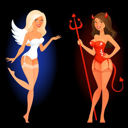 voluptuosa: Pin atractivo encima de la muchacha de la historieta en ángel o diablo disfraz