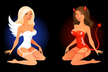 teufel und engel: sexy cartoon pinup Mädchen in Engel oder Teufel Kostüm