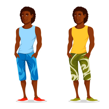 handsome guy: handsome Brazilian guy in casual summer outfit Illustration