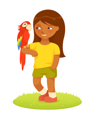 small girl: colorful cartoon illustration of a cute small girl with macaw parrot