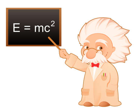 einstein: scientist pointing at the famous theory of relativity formula on the board Illustration