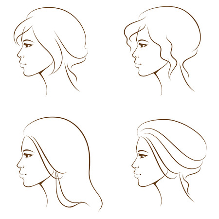 hairdos: beautiful woman face from profile, with various hair styles