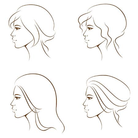 sch�nes frauengesicht: sch�ne Frau Gesicht von Profil, mit verschiedenen Frisuren Illustration