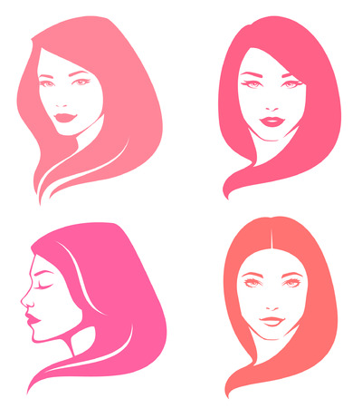 simple illustrations of beautiful women with various hair style Illustration