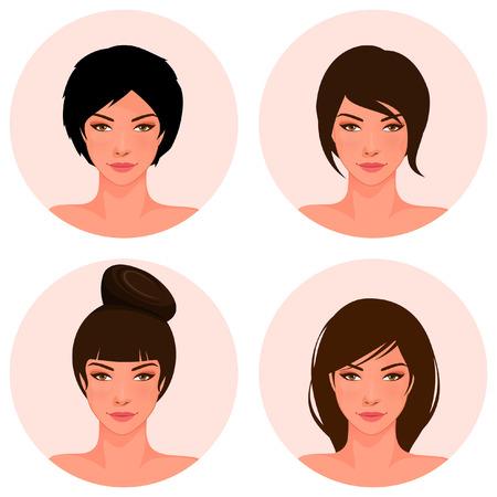 cabello negro: conjunto de ilustraciones de una hermosa joven con diferente estilo de pelo
