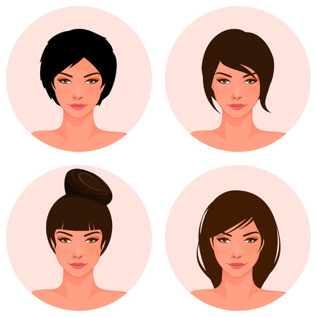 bang: set of illustrations of a beautiful young girl with different hair style Illustration