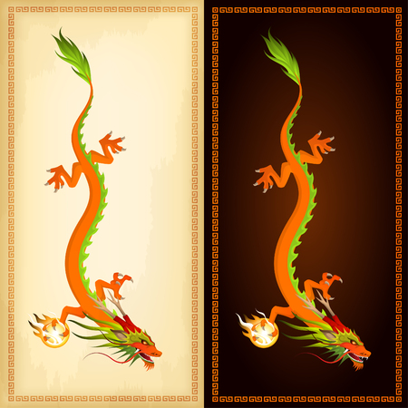 dragon vertical: vertical banners with illustration of beautiful chinese dragon