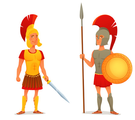 antigua grecia: colorida ilustración de dibujos animados de la antigua romana y soldado griego