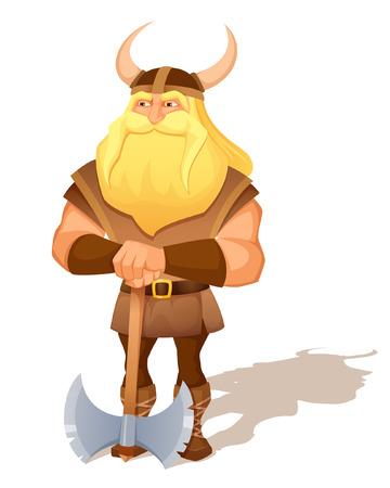 vikingo: ilustración de dibujos animados de un antiguo guerrero vikingo con un hacha