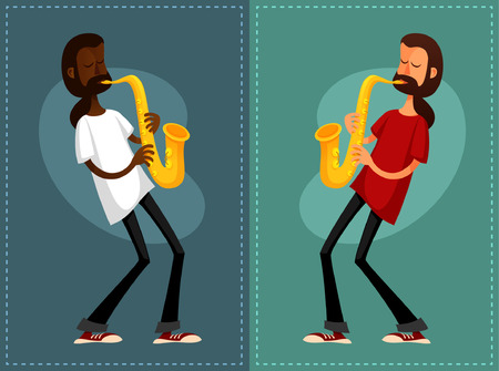 african sax: funny cartoon guys playing saxophone