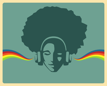 beautiful girl listening to music from headphones Ilustração