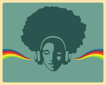 audifonos dj: hermosa niña de escuchar música de los auriculares