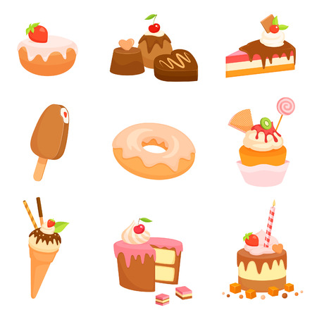 collection of cute illustrations of various sweets and cakes