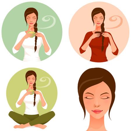 scent: set of illustrations of a beautiful woman enjoying hot tea or coffee Illustration