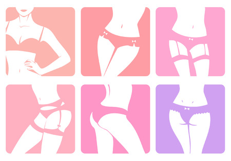 bra: set of icons with illustrations of woman body in lingerie