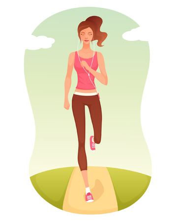 illustration of a beautiful cartoon girl jogging Ilustração