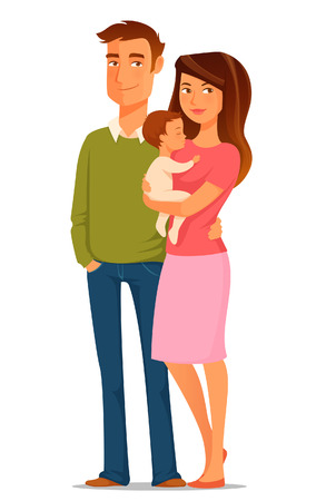 cartoon illustration of a young happy family