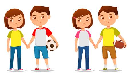 futbol soccer dibujos: ejemplo lindo de hermano y hermana de mano Vectores