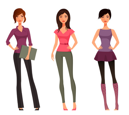 happy teenagers: cute cartoon girls in various outfits Illustration