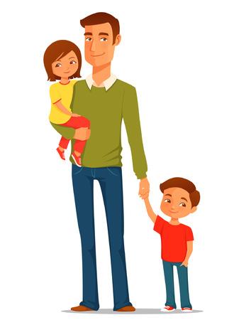 papa: jeune père de famille avec ses enfants mignons Illustration