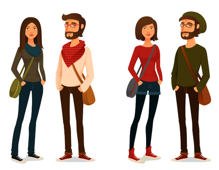 cartoon illustration of young people in hipster fashion 일러스트