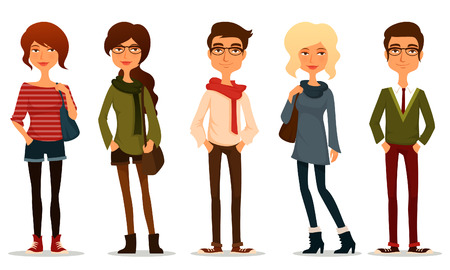 brunet: funny cartoon illustration of young people Illustration