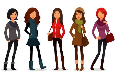 ropa casual: chicas extravagantes dibujos animados en ropa de colores Vectores