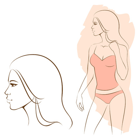shape vector: beautiful woman in underwear and detail of her face
