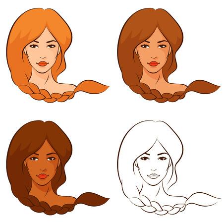 trenzas en el cabello: mujeres hermosas con el pelo trenzado
