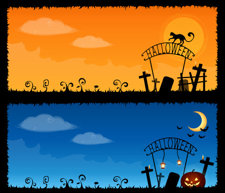 spooky graveyard: cute Halloween theme banners with a spooky graveyard