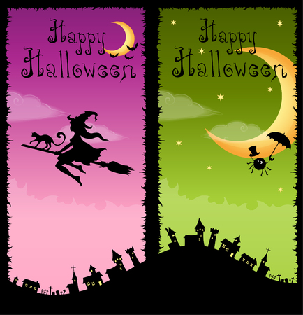 scary halloween: colorful vertical banners with Halloween theme