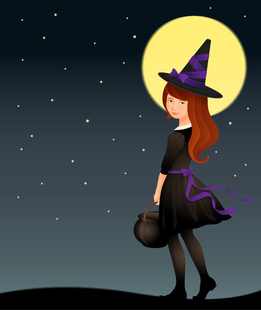 tights: Illustration of a cute witch girl on starry Halloween night Illustration