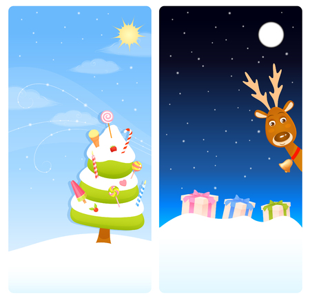 colourful sky: vertical banners with Christmas theme