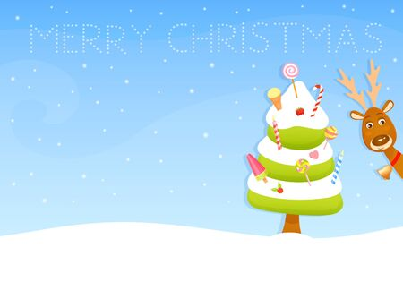 winter wish: colorful Christmas wish card with a cute reindeer and candy Christmas tree