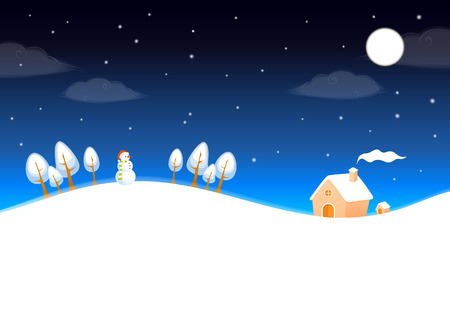 beautiful homes: cute winter landscape with night sky, snowman and small cottage Illustration